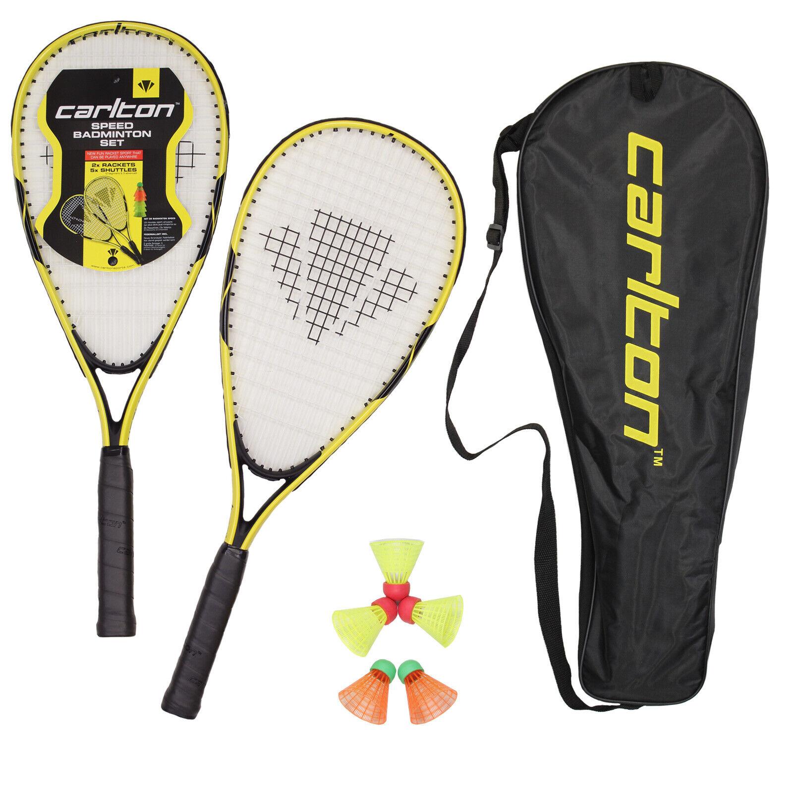 CARLTON 2er Speed Badminton Set inkl. 5 Federbälle und Tasche