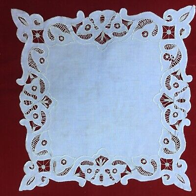 Scalloped Square Tray (Vintage Fancy Embroidered Scalloped Square Ivory Tray Doily Napkin 17X17 in.)