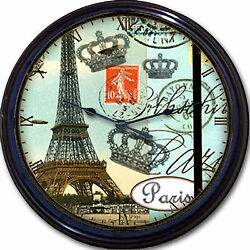 Paris France Eiffel Tower  Wall Clock French Postmark Stamp Royal Crown New 10