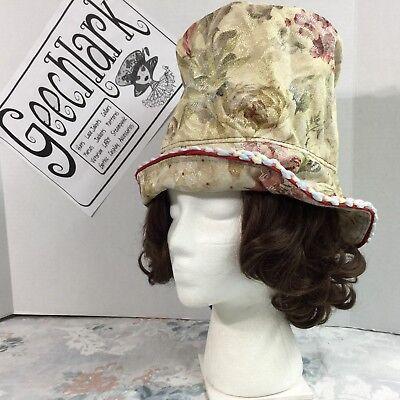 Steampunk Top hat romantic cream pink flower Victorian pastel geechlark  5263 (Pink Top Hat)