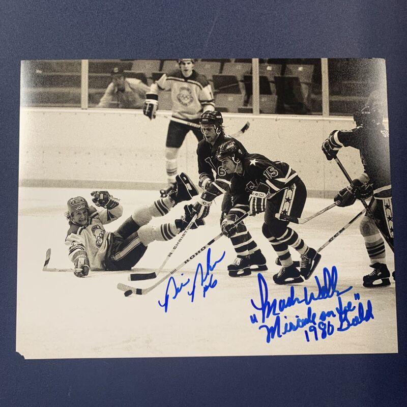 BILL BAKER & MARK WELLS SIGNED 8x10 PHOTO USA HOCKEY MIRACLE ON ICE COA *READ*
