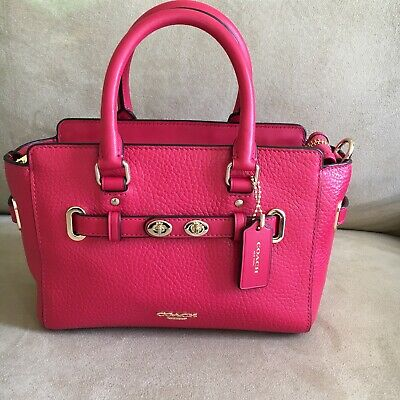 NWT Coach Mini Blake Carryall In Bubble Leather F37635 Bright Pink