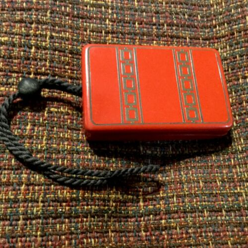 Vintage Bakelite Celluloid Dance Compact Art Deco Red Black Powder Rouge Mirror