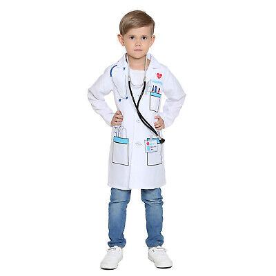 Kids Doctors Scientist Doctor Medical White Lab Coat Boys Fancy Dress Costume