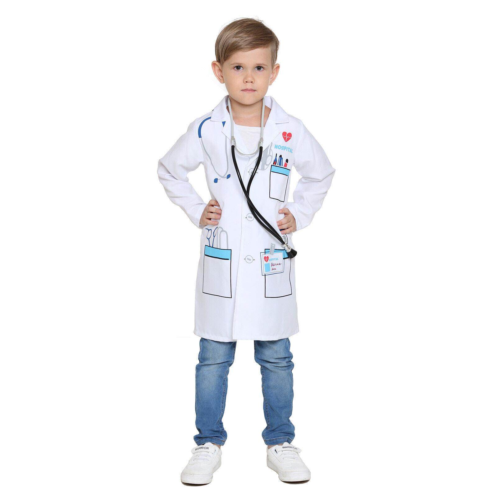 Kids Doctors Scientist Doctor Medical White Lab Coat Boys Fa
