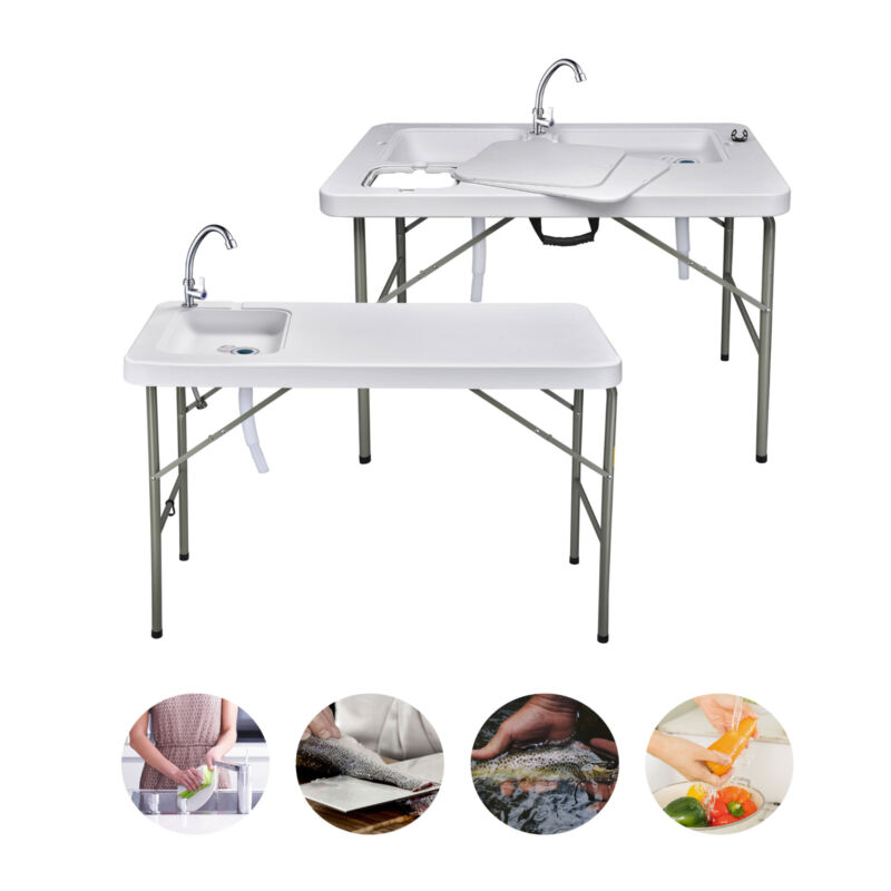 Portable Fish Table Folding Cleaning Cutting Sink Outdoor Camping Table