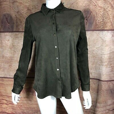Zara Basic Shirt Size Small Snap Up Buttons  Dark Green Faux Suede Women's (A81)
