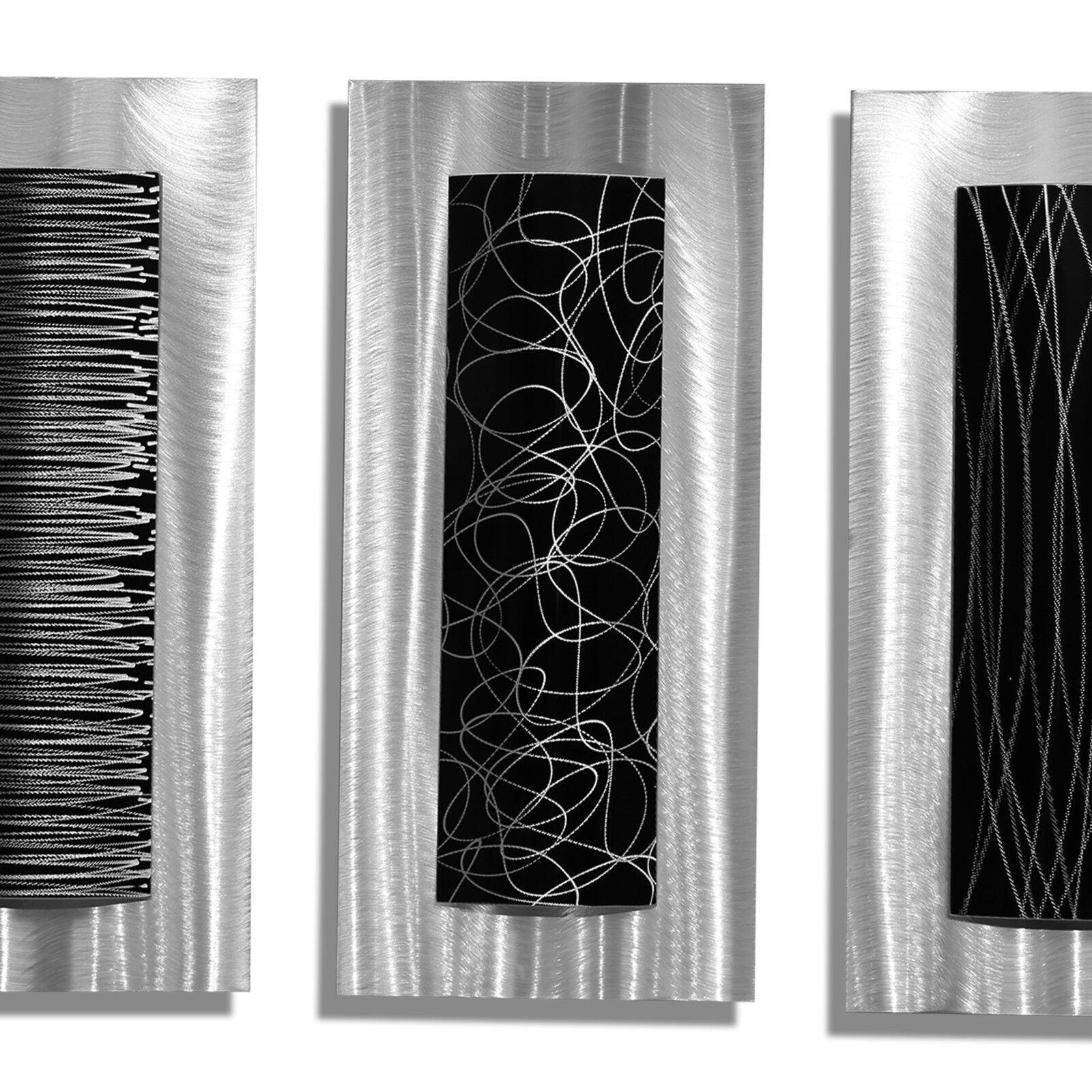 Abstract Metal Wall Art - Silver Black Decor - 3 Unique ...