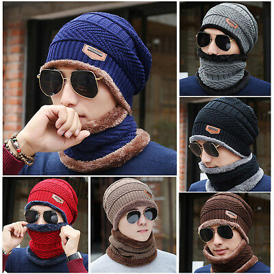 Men Women Winter Warm Crochet Knit Baggy Beanie Wool Skull Hat Ski Cap Scarf Set