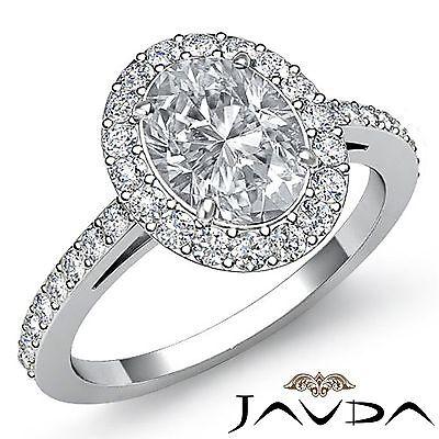Halo Pave Set Oval Diamond Engagement Exquisite Ring GIA G VS1 Platinum 1.95ct