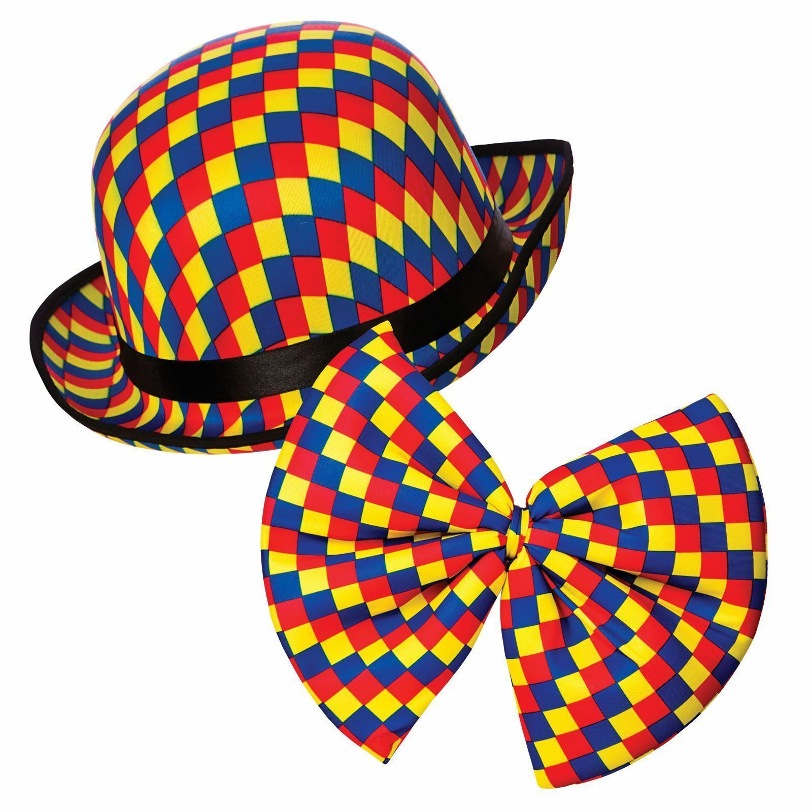 BOW TIE Circus Big Top Birthday Party Fancy Dress Adult CLOWN BOWLER HAT