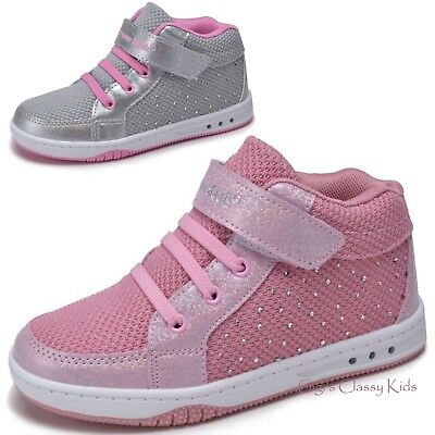 Girls Tennis Shoes High Top Glitter Sneakers Kids Youth Athletic Strap Casual  - High Top Sparkle Sneakers