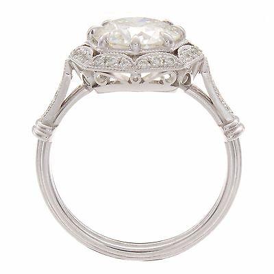 2.48ct Round GIA Certified Vintage Platinum Diamond Engagement Ring 3
