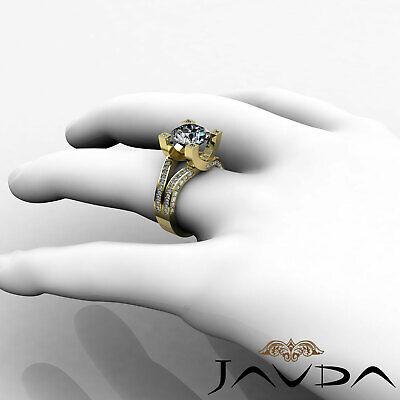 Trellis Style Split Shank Round Cut Diamond Engagement Pave Ring GIA I VS2 2.5Ct 10