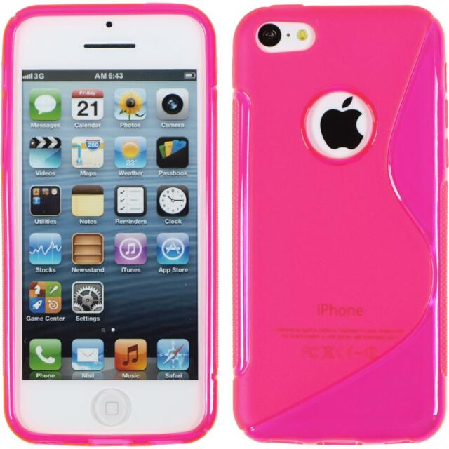 Silicone Case Apple iPhone 5c - S-Style logo hot pink + protective foils