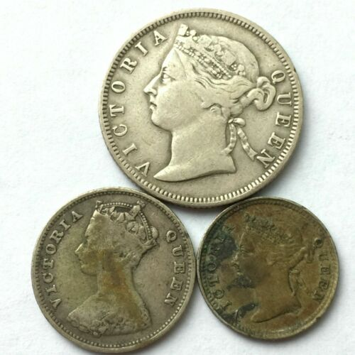 Lots of 3 Hong Kong 5, 10, 20 Cents silver coins, issued in 1894, 96, circulated