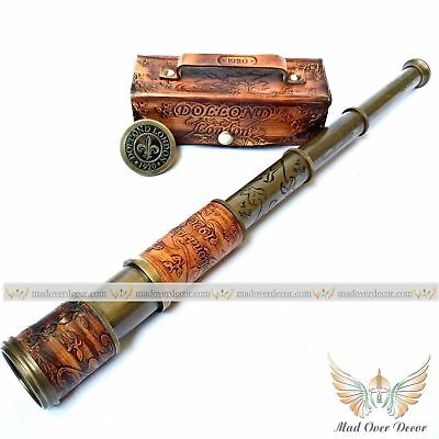 VINTAGE BRASS TELESCOPE MARINE ANTIQUE NAUTICAL LEATHER PIRATE SPYGLASS SCOPE