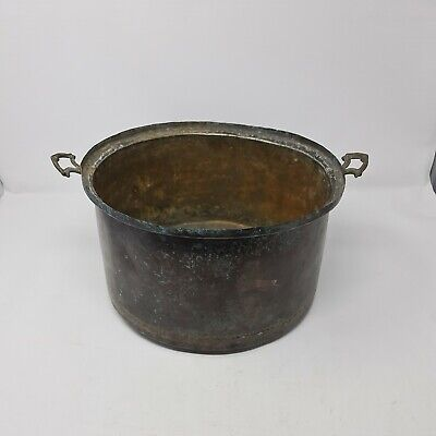 Vintage Copper Two Handled Circular Pan 26cm Diameter Inside 15cm Deep Inside