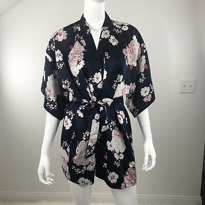 IBODY BY COTTON ON KIMONO ROBE SZ S-M Short Navy Mauve Floral Self Tie Wedding Cotton Short Robe
