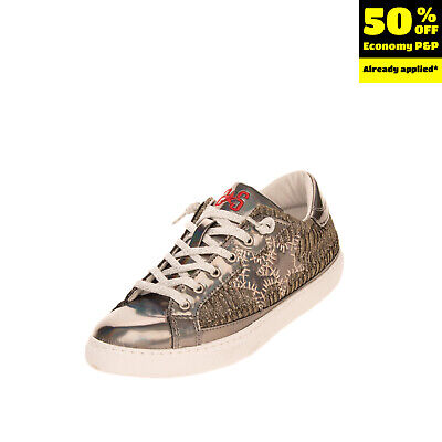 2STAR Kids Low Top Sneakers Size 39 UK 6 US 7 Worn Look Iridescent Effect Patch