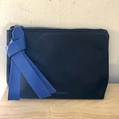 - Shu Uemura Large Black Makeup Cosmetic Bag With Blue Ribbon Bow Zipper New