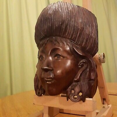 Black Forest Wood Carved (Russian?) Girl's face,