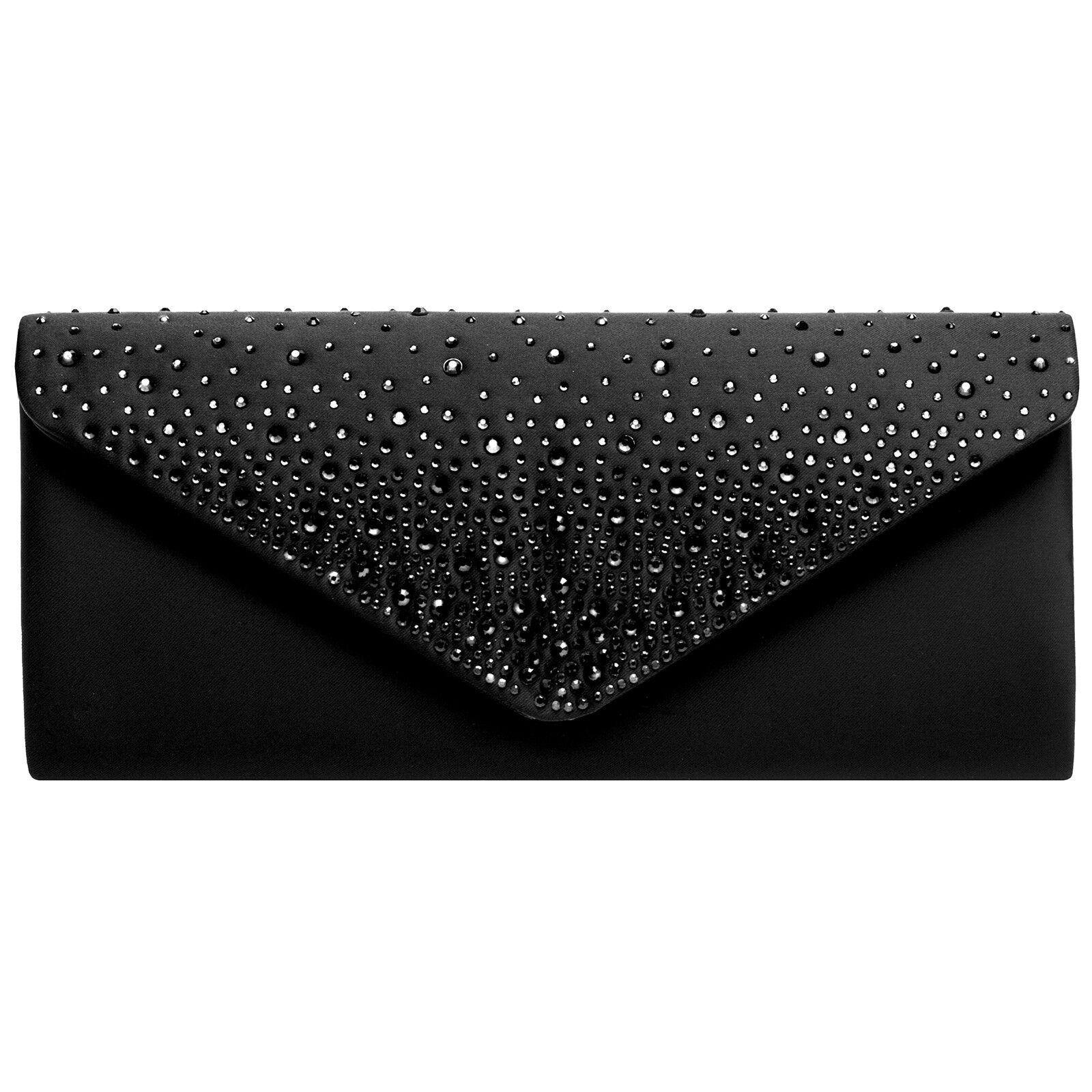 CASPAR TA422 Damen Clutch Tasche Abendtasche Baguette Briefumschlag Schwarz