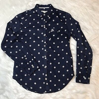 Abercrombie And Fitch Kids Navy Polka Dot Long Sleeve Top Girls Size Medium