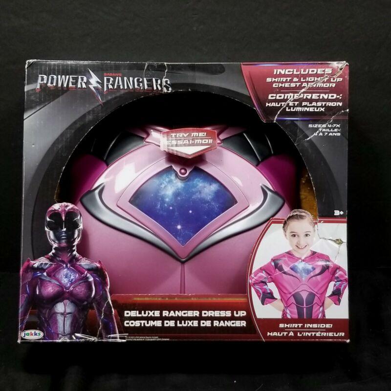 Power Rangers Deluxe Dress Light Up Costume Size 4-7 Pink Shirt Armor Halloween