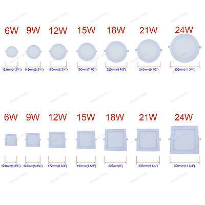 - 6W 9W 12W 15W 18W 21W 24W LED Recessed Ceiling Panel Light Bulbs Slim Lamp