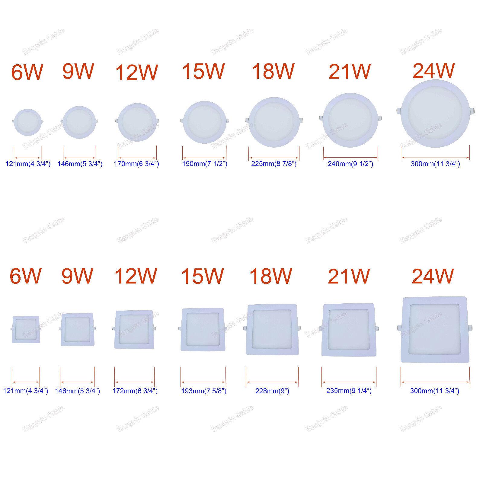 6W 9W 12W 15W 18W 21W 24W LED Recessed Ceiling Panel Light B