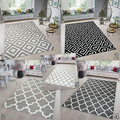 High Trellis (Modern TAPISO Trellis Rug Large Black White Grey High-Quality Carpet Soft Pile)