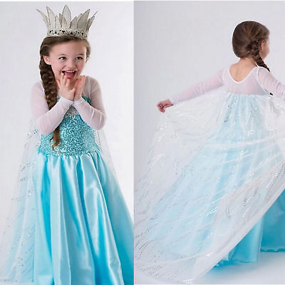 US STOCK Girls Frozen Queen Elsa Anna Dresses Costumes Party Dress K4 (Elsa & Anna Costumes)