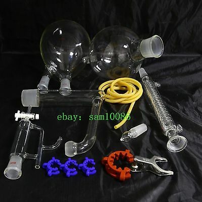 Essential oil steam distillation kit,Graham Condenser,All Glassware Clamps,New