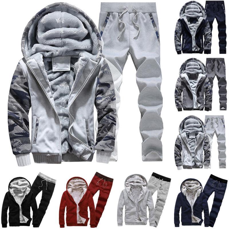 Plus Size Mens Tracksuit Set Hoodies Zip Winter Sweatshirt J