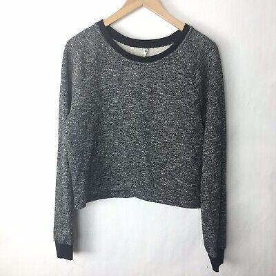 Fabletics Sweatshirt Large L Cropped Keeva Pullover Black Heathered Crewneck