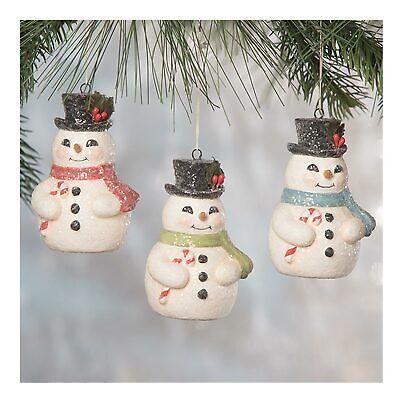 Set/3 Bethany Lowe Jolly Candy Cane Snowman Retro Vntg Christmas Ornaments Decor
