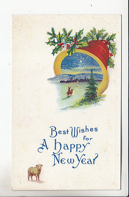 Best Wishes for A Happy New Year Greeting Card POSTCARD Vintage Sheep Bell