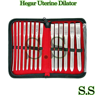 14 Pieces Set Of Hegar Uterine Dilator Sounds Single Ended .
