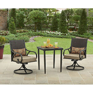 3 Piece Bistro Set Swivel Rocker Chairs With Cushions Outdoor Patio  Furniture