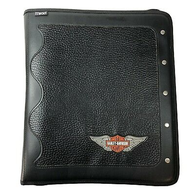 Mead Harley Davidson Motorcycles Black Zippered 3 Ring Binder Portfolio