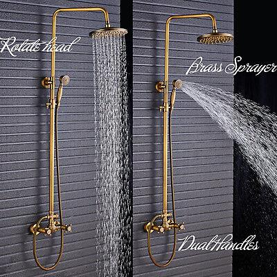 Antique Brass Shower Faucet 8-inch Rain Head Hand Shower Spray Wall Mount Tap US