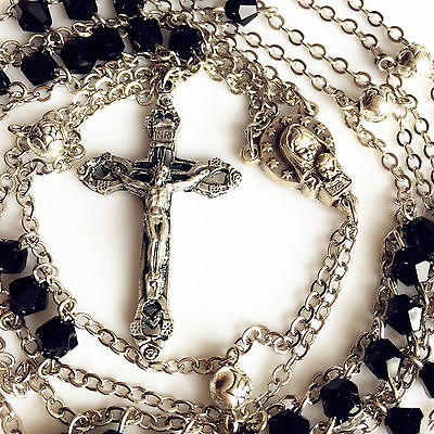 Black Crystal & Silver Rose Beads LADDER ROSARY CROSS catholic GIFT necklace box for sale  Shipping to Canada