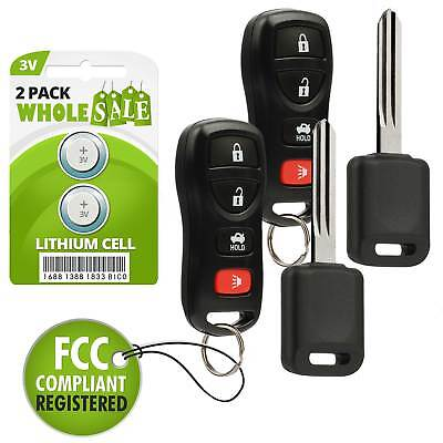 2 Replacement For 2004 2005 2006 2007 2008 2009 Nissan Quest Key + Fob Remote