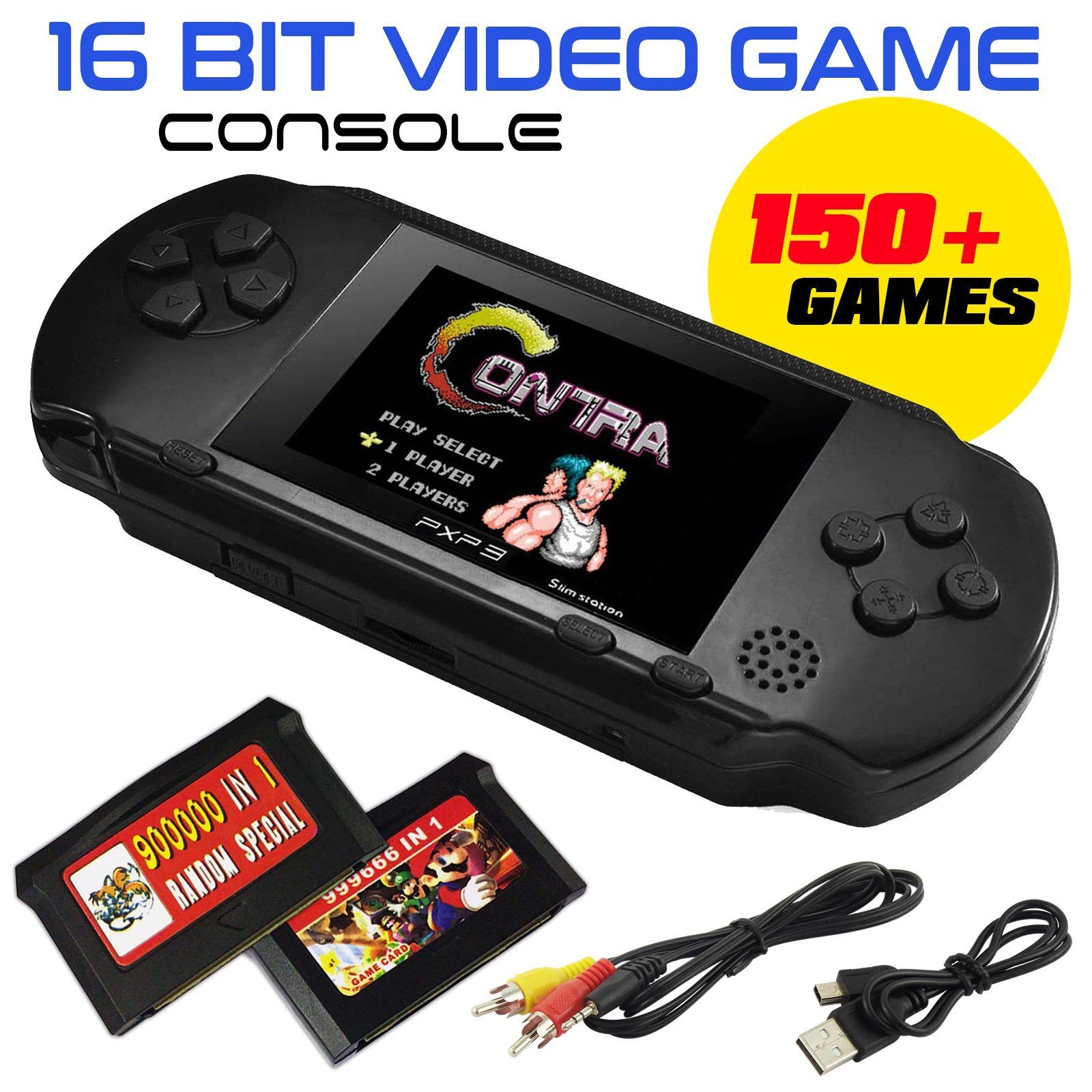 16 Bit PXP PVP tragbare Videospiel-Handkonsole 150 Spiele Retro Megadrive