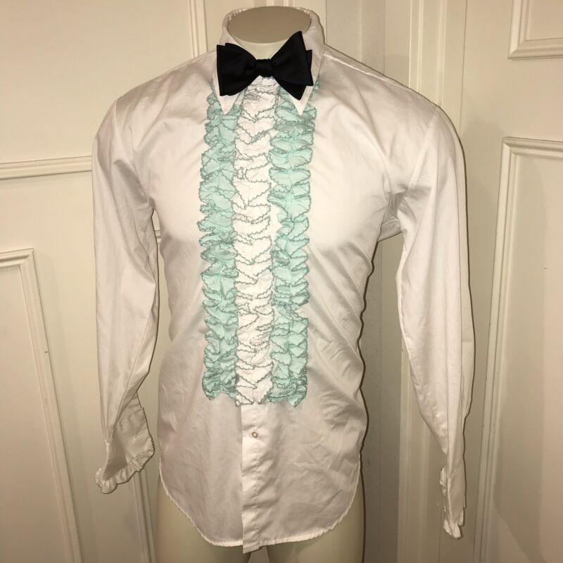 Vtg 70s AFTER SIX White MINT GREEN Dress Shirt TUXEDO Prom Ruffles Mens MEDIUM