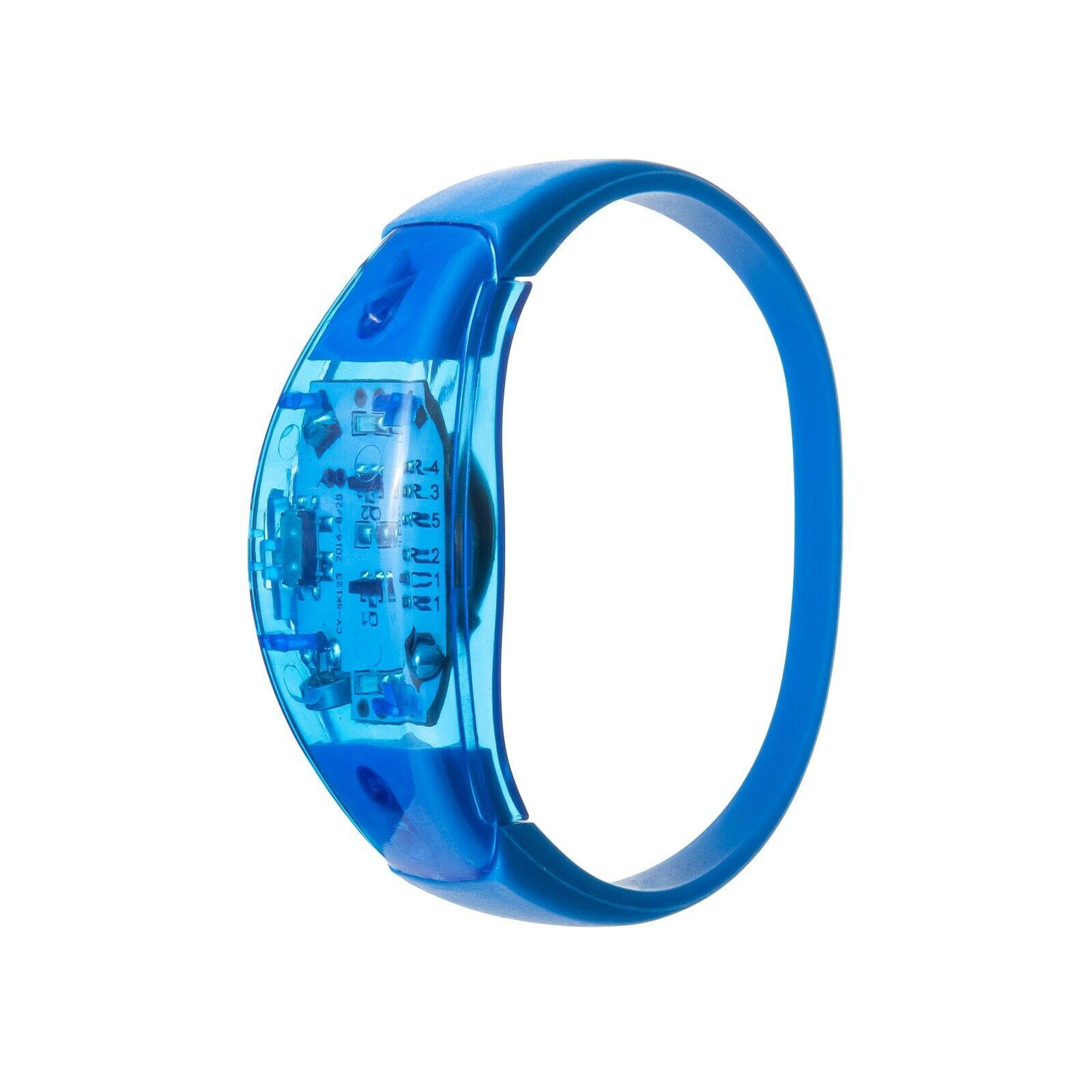 2 Blue Sound Activated LED Bracelet Light Up Flashing Voice Control Music Bangle