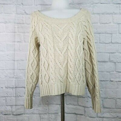 Urban Outfitters BDG Small Cable Knit Sweater Cream