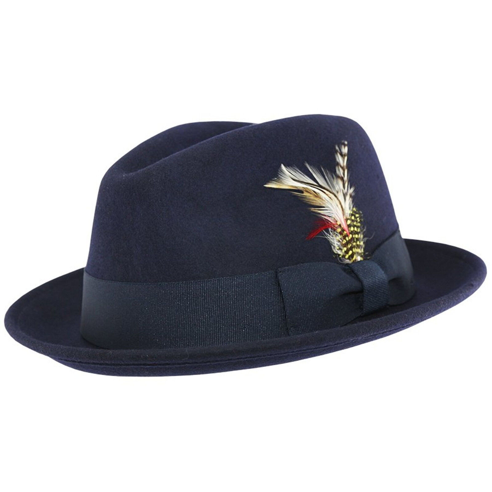 b06a2337 Crushable C-Crown 100% Wool Felt Fedora Trilby Hat With Removable Feather