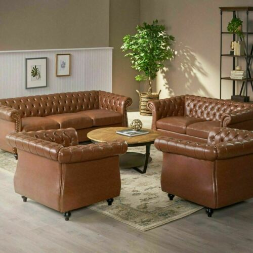 Madelena Traditional Chesterfield 4 Piece Living Room Set Furniture